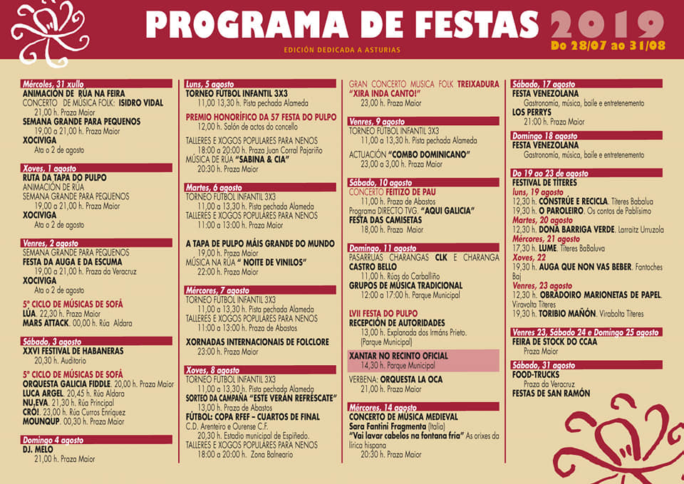 Programa de Festa do Pulpo 2019